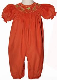 smocked fall leaves baby scarlet for thanksgiving