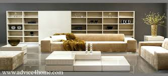 Living Room Sofa Designs Wall And Cream White Sofa Design With Bookshelves In Living Room