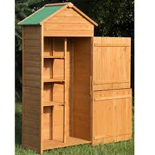 Wood Tool Storage Cabinets Outsunny 90 X 50cm 4 Tier Wooden Garden Shed Outdoor 3 Shelves