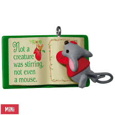 thanksgiving mini book mouse with book a creature was stirring mini ornament keepsake