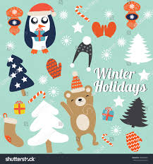 cute trees christmas cards cute trees mittens christmas stock vector