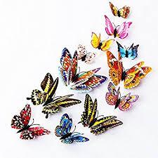 amazon com blue 24pcs 3d butterfly wall stickers decor art