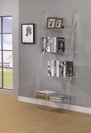 bridget collection 801553 clear acrylic ladder bookcase clear