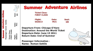 nice example of summer adventure airline ticket template with cute
