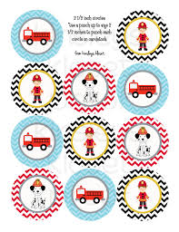 firefighter cupcake toppers printable party circles firetruck party cupcake toppers