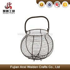 round egg basket country style grey wire metal storage rack buy