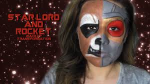 raccoon halloween makeup star lord and rocket makeup transformation guardians of the galaxy