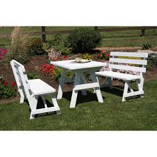 Wooden Picnic Tables With Separate Benches A U0026 L Furniture Yellow Pine Traditional Square Picnic Table With 4