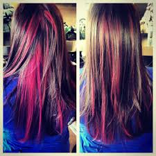 pink highlighted hair over 50 love the way it mixes in with the natural color hair stuff