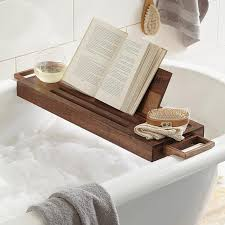 fancy wood bath caddy