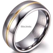 cheap rings for men 8mm width mens gold inset tungsten carbide ring aniversary