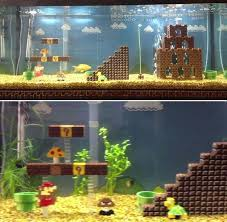 mario lego aquarium decoration awesome but probably a pita