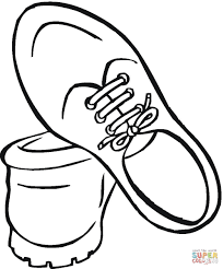 drawn shoe coloring sheet pencil and in color drawn shoe