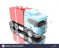 presents delivery 3d illustration truck delivering a gift box with ribbon presents