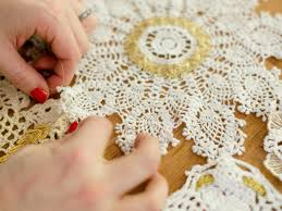 diy holiday table runner with vintage gold lace hgtv