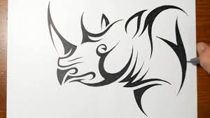 design style how to draw a rhino tribal tattoo design style youtube