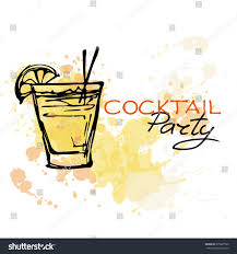 hand drawn poster cocktail party on stock vector 295997990