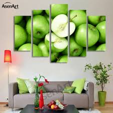 painting for kitchen wall decor canvas prints 5 panel wall art green apple picture fruit