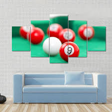 pool table wall art snooker balls on a green snooker table multi panel canvas wall art