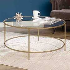 gold and glass table amazon com round international lux coffee table clear glass top and