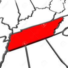 State Of Tennessee Map by A Red Abstract State Map Of Tennessee A 3d Render Symbolizing
