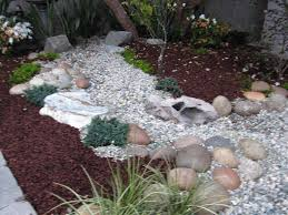 plants backyard front yard landscaping with white rocks
