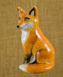 russian majolica christmas tree ornament fox small ceramic