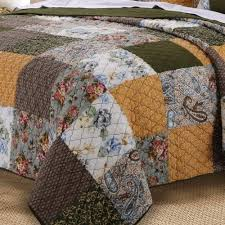 vintage paisley patchwork gold brown green cotton reversible quilt