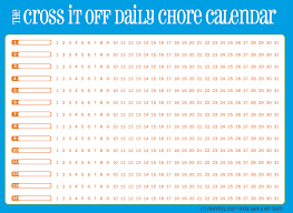 cross it off daily chore calendar blue with orange free