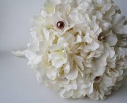 bridal flower ivory hydrangea bouquet silk wedding flowers bridesmaid bouquet