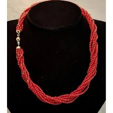 red coral bead necklace images Italian 18k red coral bead torsade 32 4 grams cameo couture jpg