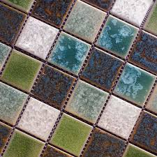 Porcelain Crackle Glass Mosaic Tile Brick - Square tile backsplash