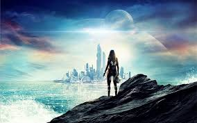 futuro sci fi ciudad rascacielos mar niña planetas fondos de