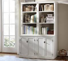 logan bookcase with doors antique white pottery barn