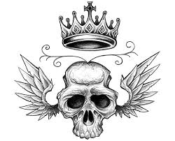 winged skull and crown tattoo design