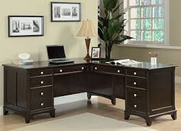 l shaped desk with hutch right return espresso finish wood l shaped office desk with plenty or storage