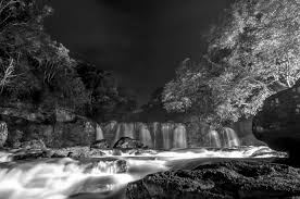 Black Forest Waterfall Window 1 Greyscale Photo Of Waterfall During Nighttime Free Stock Photo