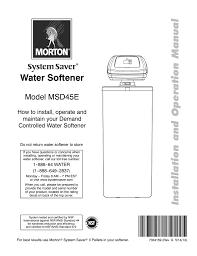 Msd45e Morton System Saver Water Softeners