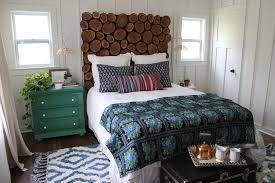 bedroom small eclectic room with dark green wood nightstand also