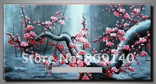 stretched oil painting canvas abstract chinese flower modern