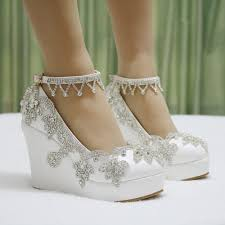 wedding shoes wedges fashion rhinestone wedges pumps heels wedding shoes for women