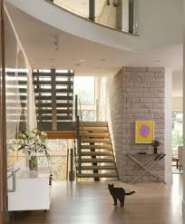 brick accent wall idea feat modern staircase design plus beautiful
