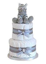signature two tier grey unisex nappy cake baby hamper baby