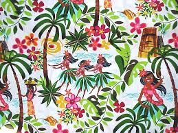 60s hawaii tiki hula girls café curtains white