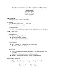 high student resume with no work experience examples