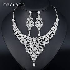 rhinestone necklace sets images Mecresh fashion african jewelry sets for women leaf crystal jpg