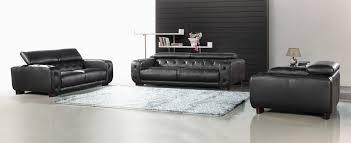 black italian leather tufted sofa set
