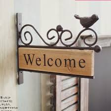 free shipping vintage style iron bird design welcome board wooden