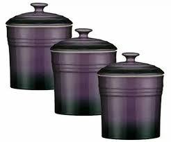 set of 3 purple storage canisters tea coffee sugar spice jars
