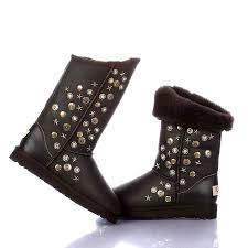 ugg womens boots waterproof s metallic rivets waterproof chocolate boots